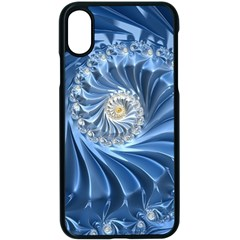 Blue Fractal Abstract Spiral Apple Iphone X Seamless Case (black)