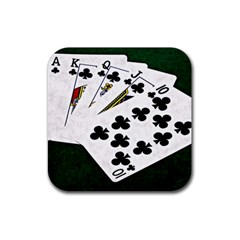 Poker Hands   Royal Flush Clubs Rubber Coaster (square)