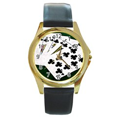 Poker Hands   Royal Flush Clubs Round Gold Metal Watch