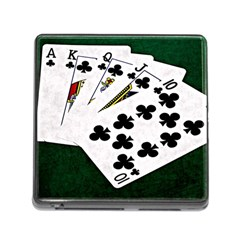 Poker Hands   Royal Flush Clubs Memory Card Reader (square)