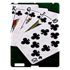 Poker Hands   Royal Flush Clubs Apple Ipad 3/4 Hardshell Case by FunnyCow