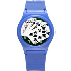 Poker Hands   Royal Flush Clubs Round Plastic Sport Watch (s) by FunnyCow