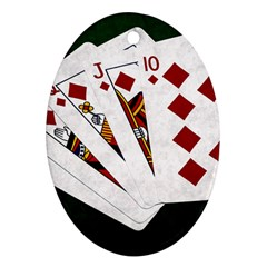 Poker Hands   Royal Flush Diamonds Ornament (oval)