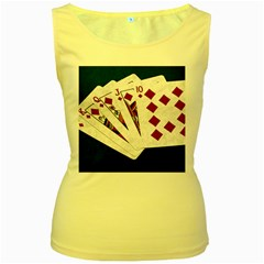 Poker Hands   Royal Flush Diamonds Women s Yellow Tank Top