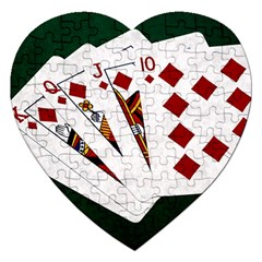 Poker Hands   Royal Flush Diamonds Jigsaw Puzzle (heart)