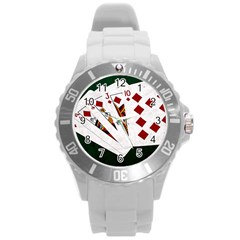 Poker Hands   Royal Flush Diamonds Round Plastic Sport Watch (l) by FunnyCow