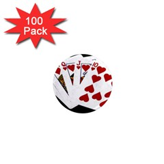 Poker Hands   Royal Flush Hearts 1  Mini Magnets (100 Pack)