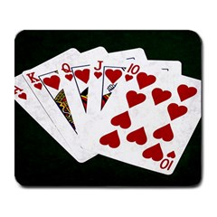Poker Hands   Royal Flush Hearts Large Mousepads