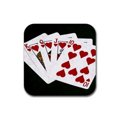 Poker Hands   Royal Flush Hearts Rubber Coaster (square)
