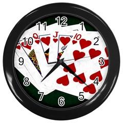 Poker Hands   Royal Flush Hearts Wall Clocks (black)
