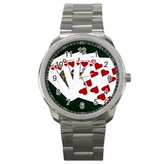 Poker Hands   Royal Flush Hearts Sport Metal Watch by FunnyCow