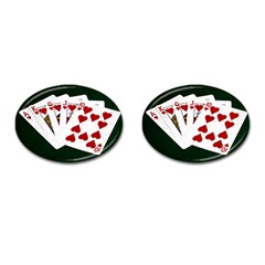 Poker Hands   Royal Flush Hearts Cufflinks (oval) by FunnyCow
