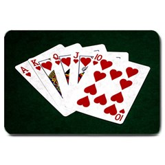 Poker Hands   Royal Flush Hearts Large Doormat  by FunnyCow