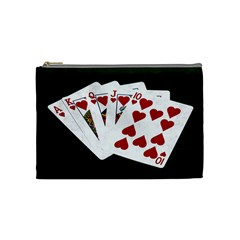 Poker Hands   Royal Flush Hearts Cosmetic Bag (medium)