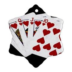 Poker Hands   Royal Flush Hearts Ornament (snowflake)