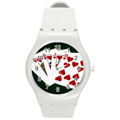 Poker Hands   Royal Flush Hearts Round Plastic Sport Watch (m) by FunnyCow