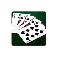 Poker Hands   Royal Flush Spades Square Magnet