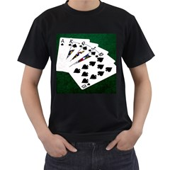 Poker Hands   Royal Flush Spades Men s T Shirt (black) (two Sided)