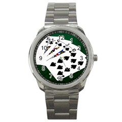 Poker Hands   Royal Flush Spades Sport Metal Watch by FunnyCow