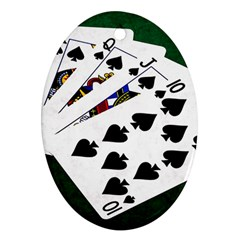 Poker Hands   Royal Flush Spades Oval Ornament (two Sides)