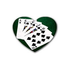 Poker Hands   Royal Flush Spades Rubber Coaster (heart)