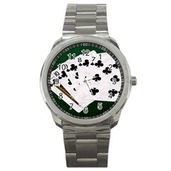 Poker Hands   Straight Flush Clubs Sport Metal Watch by FunnyCow