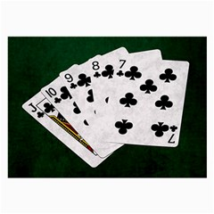 Poker Hands   Straight Flush Clubs Large Glasses Cloth