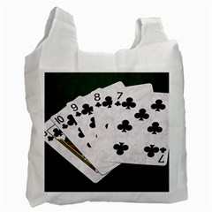 Poker Hands   Straight Flush Clubs Recycle Bag (two Side)