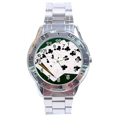 Poker Hands   Straight Flush Clubs Stainless Steel Analogue Watch