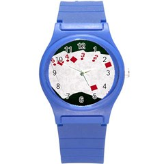 Poker Hands   Straight Flush Diamonds Round Plastic Sport Watch (s) by FunnyCow