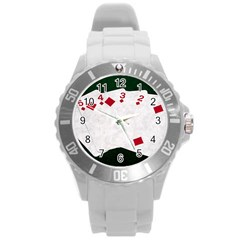 Poker Hands   Straight Flush Diamonds Round Plastic Sport Watch (l) by FunnyCow