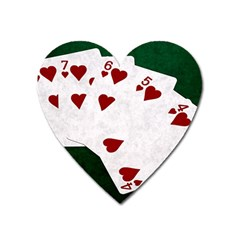Poker Hands Straight Flush Hearts Heart Magnet