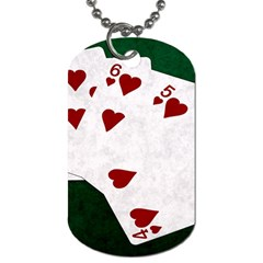 Poker Hands Straight Flush Hearts Dog Tag (one Side)