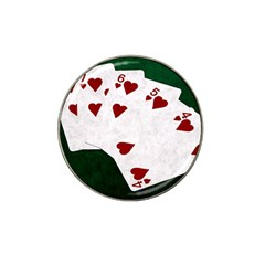 Poker Hands Straight Flush Hearts Hat Clip Ball Marker by FunnyCow