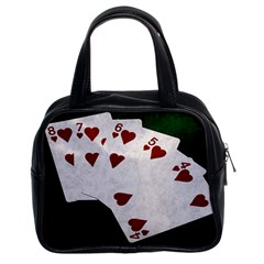 Poker Hands Straight Flush Hearts Classic Handbags (2 Sides)