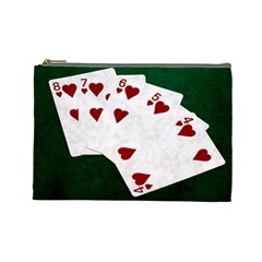 Poker Hands Straight Flush Hearts Cosmetic Bag (large)