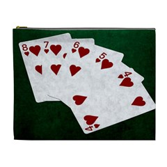 Poker Hands Straight Flush Hearts Cosmetic Bag (xl)