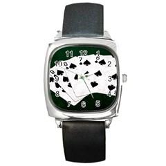 Poker Hands Straight Flush Spades Square Metal Watch