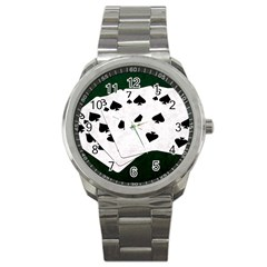 Poker Hands Straight Flush Spades Sport Metal Watch by FunnyCow