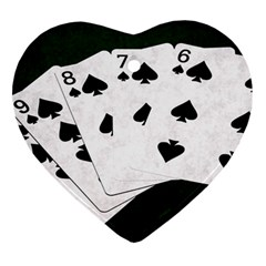 Poker Hands Straight Flush Spades Heart Ornament (two Sides)
