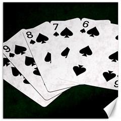 Poker Hands Straight Flush Spades Canvas 16  X 16