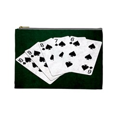 Poker Hands Straight Flush Spades Cosmetic Bag (large)