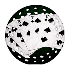 Poker Hands Straight Flush Spades Ornament (round Filigree) by FunnyCow