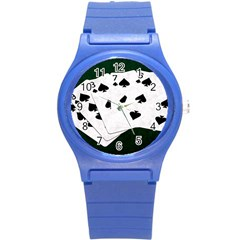 Poker Hands Straight Flush Spades Round Plastic Sport Watch (s) by FunnyCow