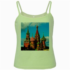 Moscow Kremlin And St  Basil Cathedral Green Spaghetti Tank