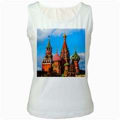 Moscow Kremlin And St  Basil Cathedral Women s White Tank Top