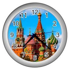Moscow Kremlin And St  Basil Cathedral Wall Clocks (silver)