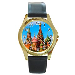 Moscow Kremlin And St  Basil Cathedral Round Gold Metal Watch