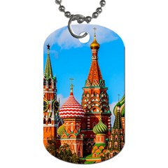 Moscow Kremlin And St  Basil Cathedral Dog Tag (two Sides)