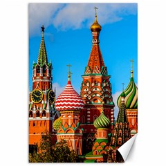 Moscow Kremlin And St  Basil Cathedral Canvas 12  X 18   by FunnyCow